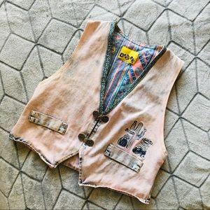 Vintage Pink Acid Wash Denim Vest
